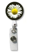 White Daisy Retractable Badge Holder