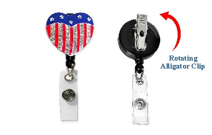 Flag Heart Retractable Badge Holder with Rhinestones