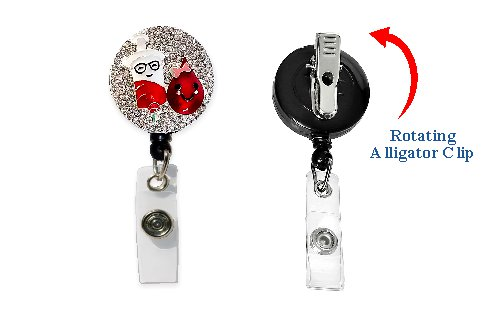 Syringe Retractable Badge Holder with Rhinestones