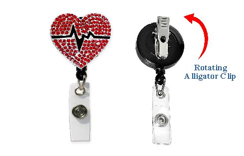 EKG HeartRetractable Badge Holder with Rhinestones