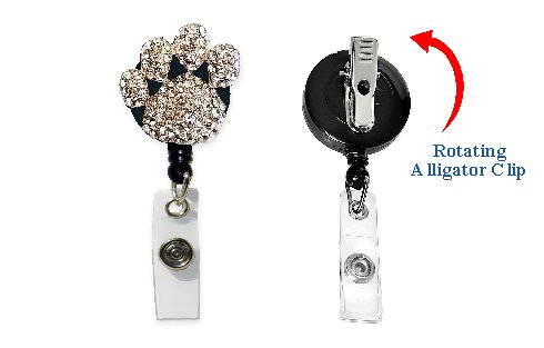 Paw Print Retractable Badge Holder with Rhinestones