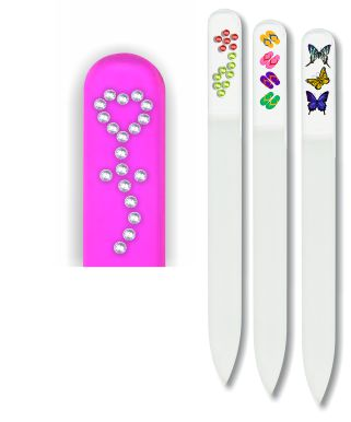 Glass Nail File: Flower Rhinestones on Pink