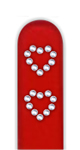Glass Nail File: Heart Rhinestones on Red