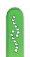 Glass Nail File: Curved Line Rhinestones on Green