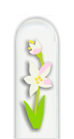 Glass Nail File: White and Yellow Flower