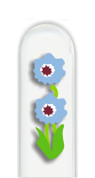 Glass Nail File: Double Blue Flower