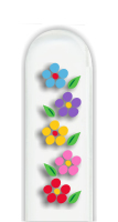 Glass Nail File: 5 Multi-Color Flowers