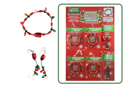 Holiday Bulb Flashing Bracelets and Earrings