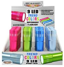 Flashlights 9 LED Trend Colors