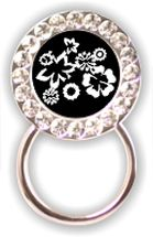 Rhinestone Eyeglass Holder: Black & White Floral
