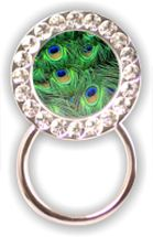 Rhinestone Eyeglass Holder: Peacock Feathers
