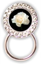 Rhinestone Eyeglass Holder: White Rose